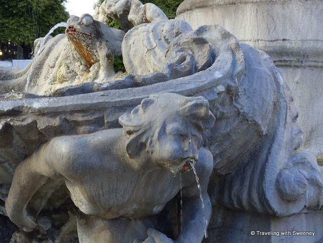 Close up photo of Fountain of the Frogs in Quartiere Coppede in Rome, Italy