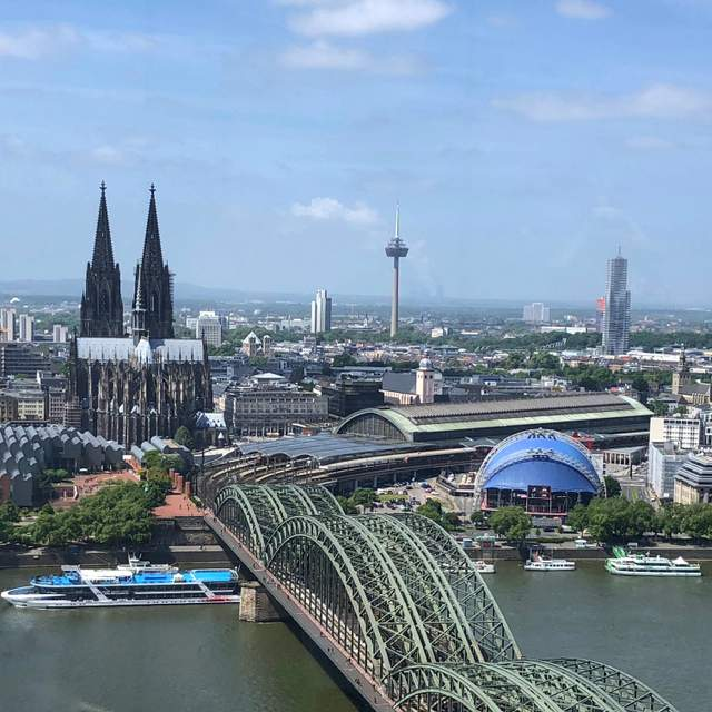 Panoramic views including the cathedral and central railway station of Cologne from Koln Triangle on the Rhine River