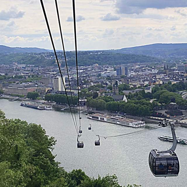 View of ships on the Rhine River from a cable car ride in Koblenz, Germany