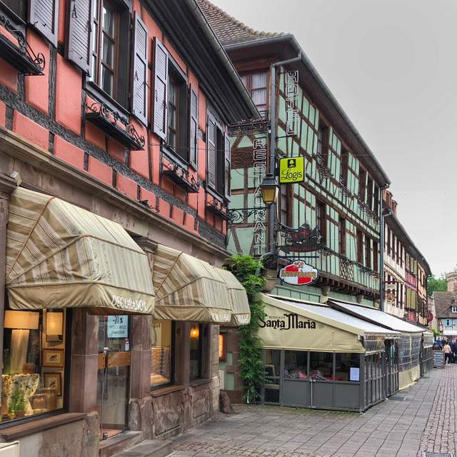 Half-timbered buildings in the charming town of Obernai in the Alsace region of France