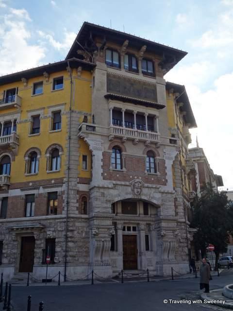 Palazzo della Rana (Palazzo of the Spider) on Piazza Mincio in the Quartiere Coppede in Rome, Italy