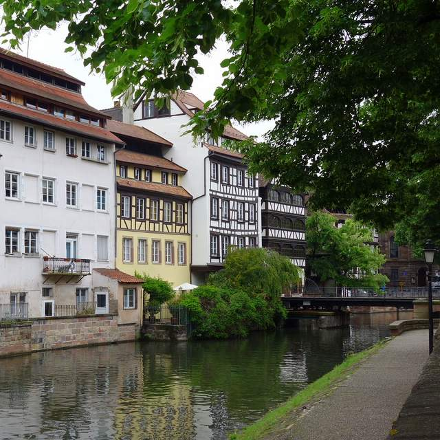 Half-timbered houses along the canal in Strasbourg, France