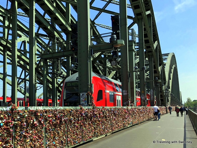 Love locks on the Hohenzollernbrücke (Hohenzollern railway bridge) in Cologne, Germany