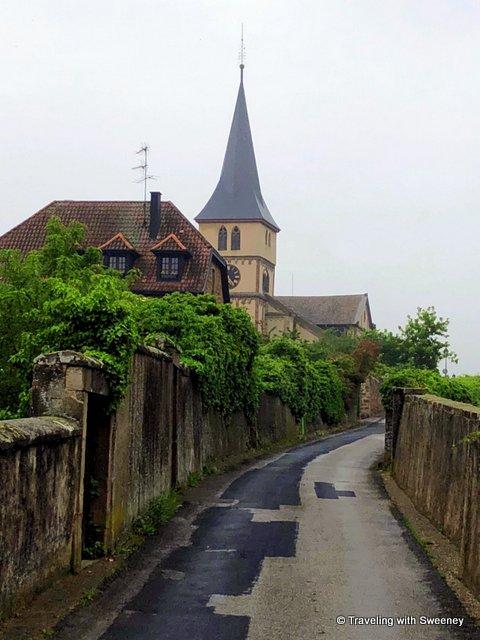 A church along a lovely lane beneath the Kirchberg de Barr, Alsace, France