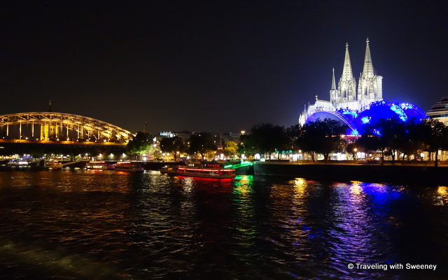 Shimmering lights and dramatic sights of Cologne, Germany at night as seen from the Viking Tialfi on the Rhine River