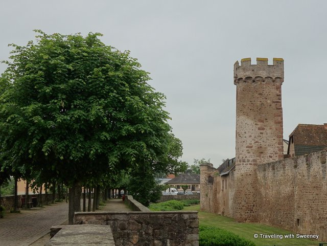 Old city ramparts and tower in Obernai