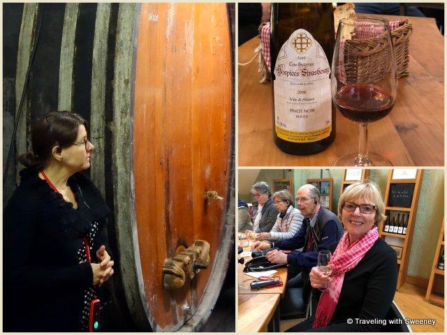 Huge oak cask and tasting room at Domaine Hering in Barr, Alsace, Frace