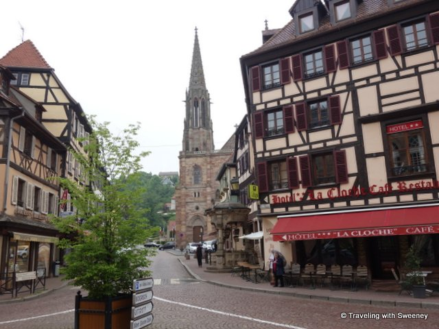 Street scene in Obernai, Alsace, France
