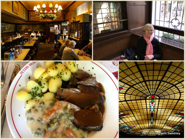 Hearty lunch at Peters Haus, Cologne restaurant with beautiful stained glass ceiling, Cologne, Germany
