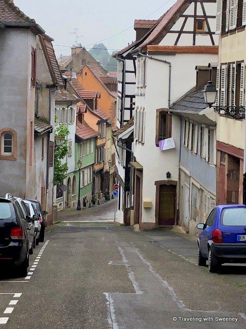 Steep, narrow street in Barr, Alsace, France