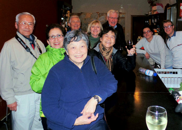 Hanging out in a Portuguese bar with Ron and Judy (left and right in the front)
