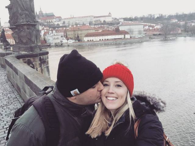 Newlyweds Brian and Hillary in Prague on their Viking river cruise extension