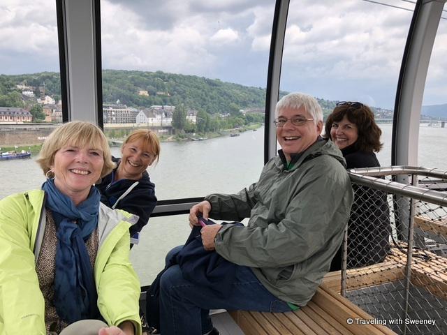 Cable car ride over the Rhine River in Koblenz, Germany
