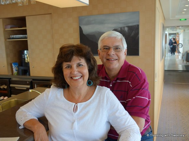 Cruise guests, Suzi and Mark, in the lounge of the Viking Tialfi