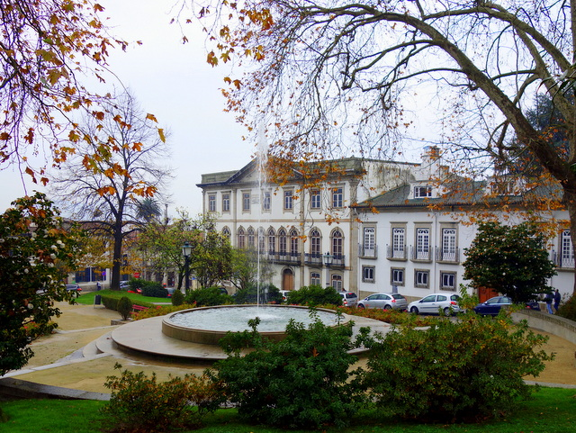 Fountains and gardens in a lovely square in Guimaraes, Portugal, a UNESCO World Heritage Site