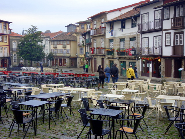 All is quiet on this rainy afternoon at Paco de S. Tiago in Guimaraes, Portugal