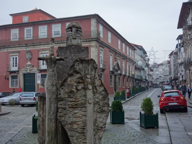 Avant garde statue of King Afonso Henriques by Jao Cuileiro in Guimaraes, Portugal --- a UNESCO World Heritage Site
