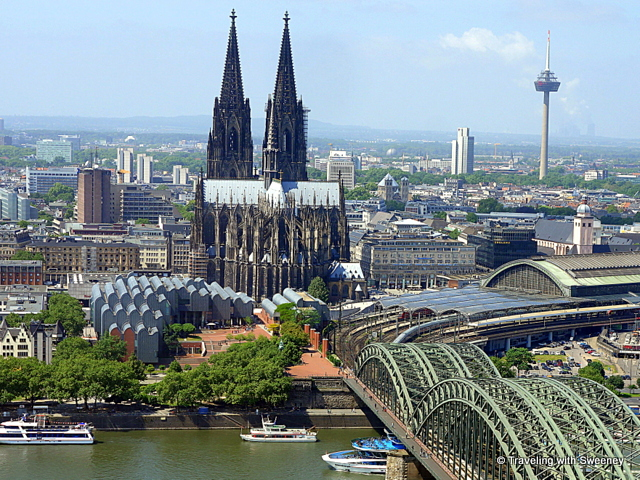 Cologne Cathedral viewed from Koln Triangle across the Rhine, Germany