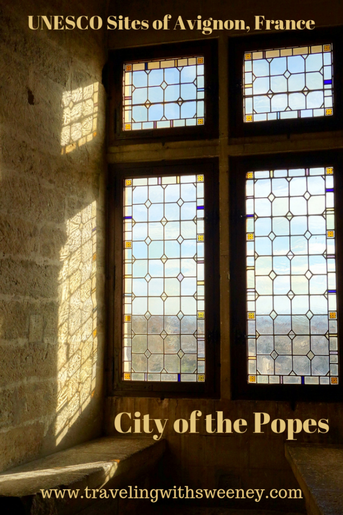 Windows in the Palais des Papes in Avignon, France