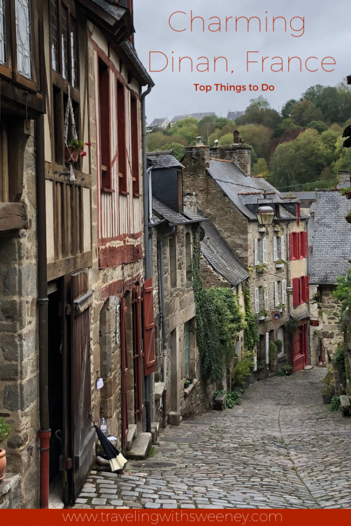 Rue du Jerzual in the charming medieval village of Dinan in the Brittany region of France