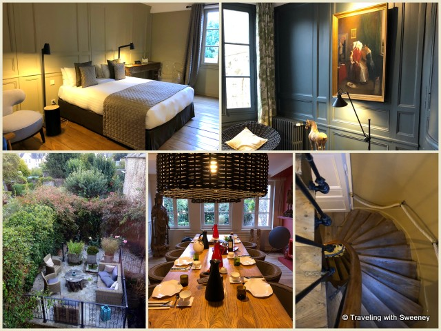Angkor room, common areas, breakfast room, garden, spiral staircase to our room at La Maison Pavie in Dinan, France