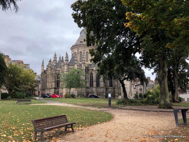 Basilica St. Sauveur and the Jardin Anglais (English Garden) in Dinan, France