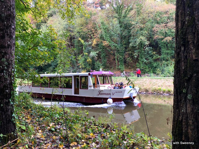 Jaman V, a tour boat that provides a one-hour cruise on the Rance River from the Port of Dinan to Lehon -- Brittany, France highlights