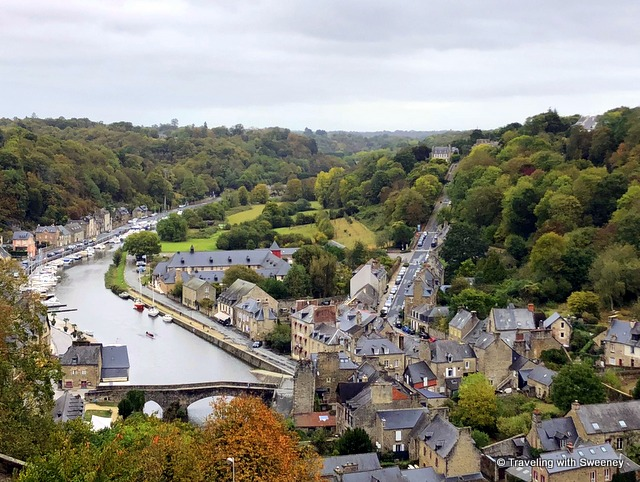 View of Dinan and Lanvallay, France from Tour Ste. Catherine -- including the old bridge (Vieux Pont) over the Rance River