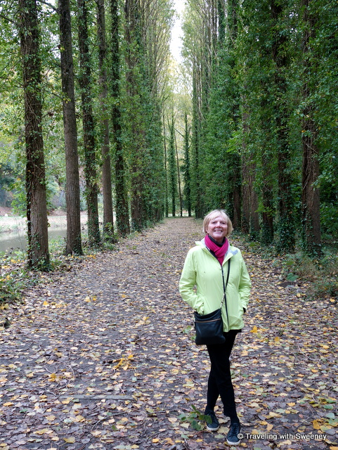 Along the tree-lined riverside path from Dinan to Lehon, France
