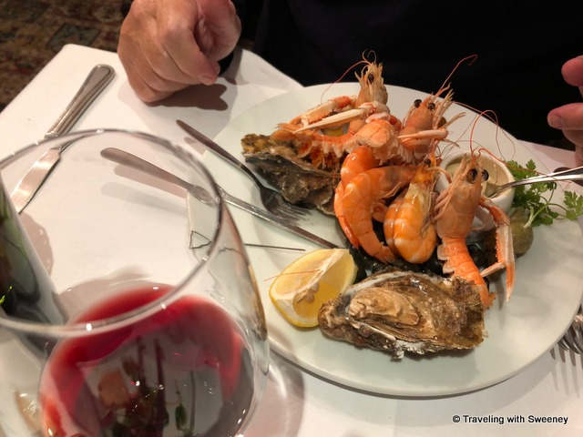Assiette du mareyeur (seafood platter) and a nice Bordeaux at Le Cantorbery in Dinan, France