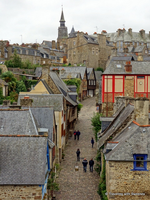 View from the ramparts over the rooftops of old Dinan, France