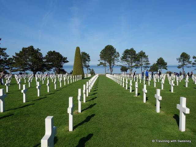 View toward the English Channel from the American Cemetery at Omaha Beach, Normandy, France