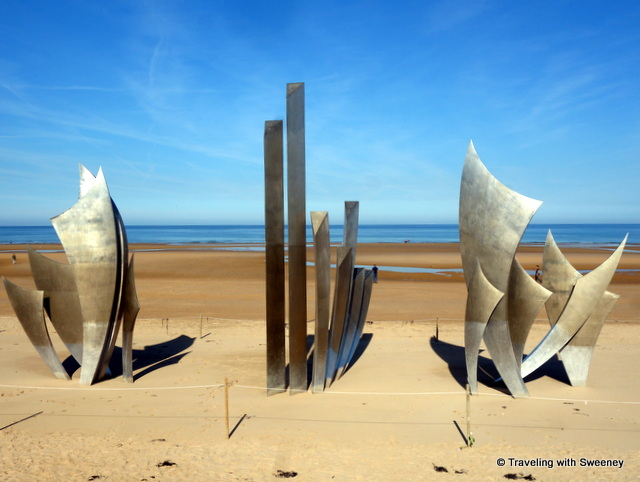 Les Braves (The Brave ) sculpture by Anilore Banon at Omaha Beach in Normandy, France
