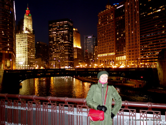 Catherine Sweeney of Traveling with Sweeney on bridge over the Chicago River during the Christmas seaso