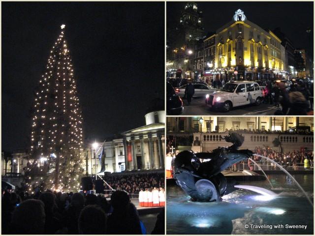 Christmas in London: Trafalgar Square tree lighting, Covent Garden, fountain in Trafalgar Square, London, England
