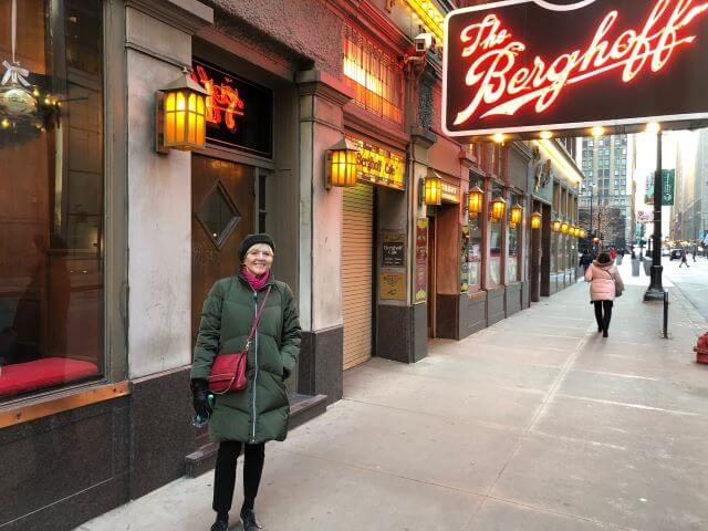 Catherine Sweeney in front of The Berghoff restaurant in Chicago, Illinois