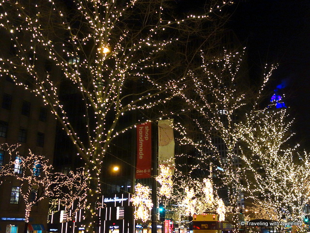Michigan Avenue shops and holiday lights, Chicago
