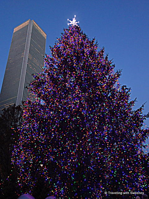 Christmas tree at Millennium Park and Aon Center building in Chicago