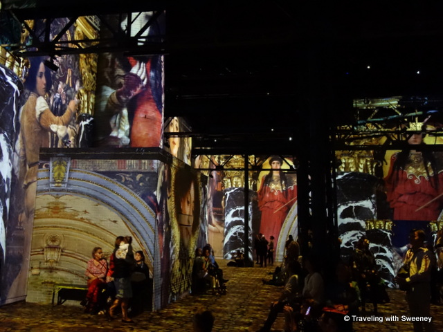 Digital exhibition of Klimt/Hunterwasser at Ateliers des Lumieres, Paris, France