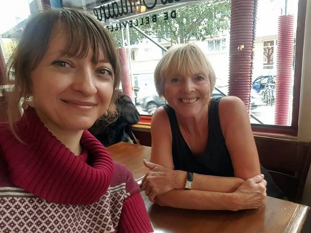 With Pola Henderson of Jetting Around at La Fontaine de Belleville in the 10th arrondissement of Paris, France