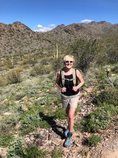 The happy hiker in Sonoran Desert of Arizona