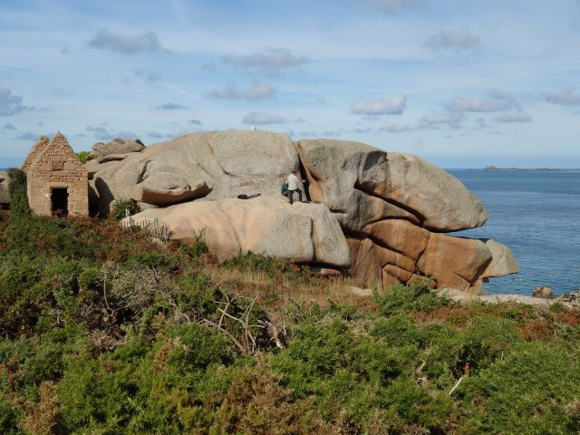 Ruins of the old gun powder store on the Pink Granite Coast at Perros-Guirec