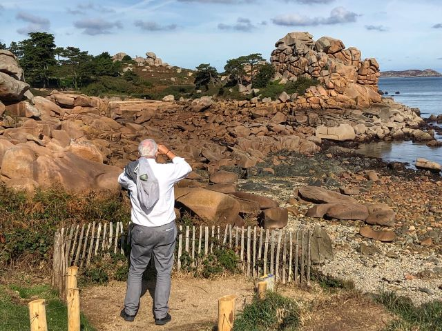 Mr. TWS stopping for one of many photo opportunities along the way of the Sentiers des Douaniers footpath of Brittany's Pink Granite Coast
