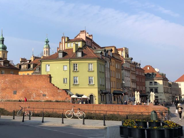Remnants of old city walls and reconstructed buildings of Old Town Warsaw, Poland