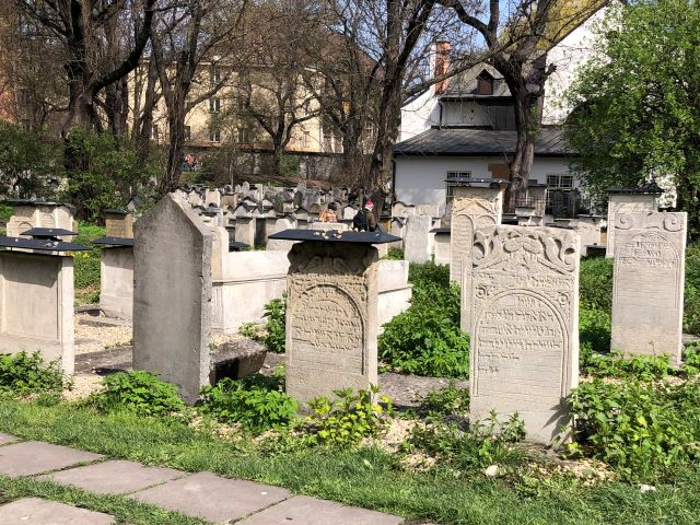 Restored gravestone of Remuh Cemetery in the Kazimierz neighborhood in Krakow, Poland
