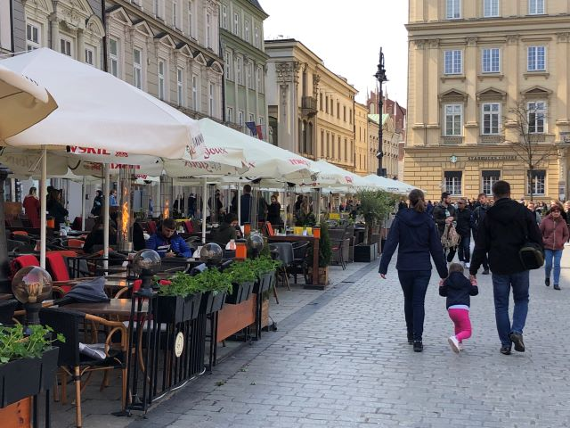Rynek Glowny -- the place to be on a Sunday afternoon in Krakow, Poland