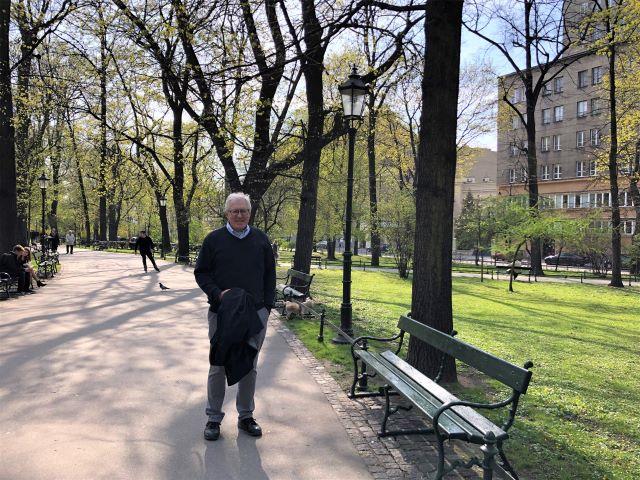 On a springtime stroll in Planty Park in Krakow, Poland