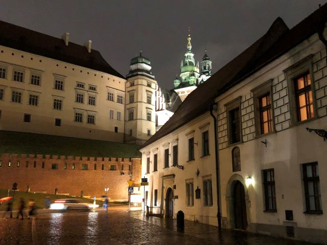 Wawel Castle and Wawel Cathedral seen from below at night, Krakow, Poland
