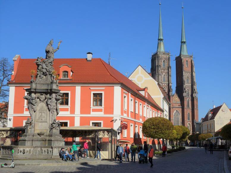 St. John of Nepomuk monument and St. John the Baptist Cathedral on Ostrow Tumski (Cathedral Island) in Wroclaw, Poland
