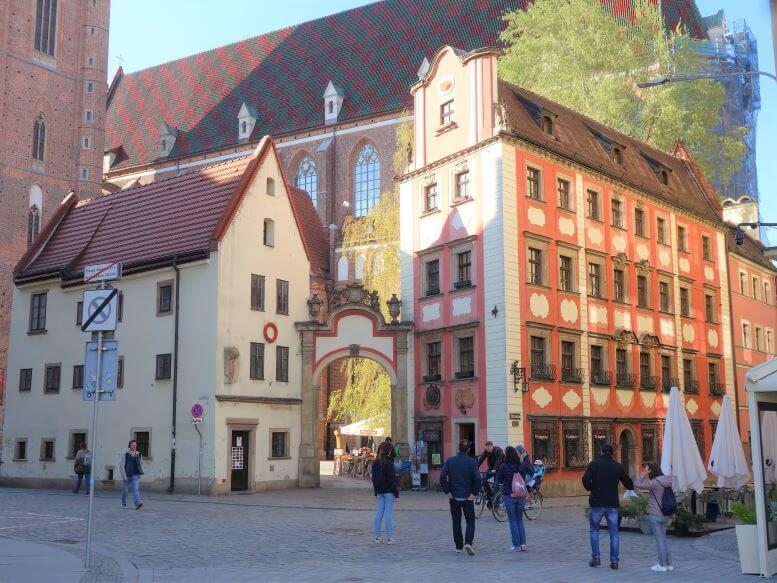 Hansel and Gretel houses on the Rynek (Market Square) of Wroclaw, Poland